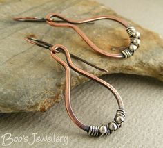 Antiqued copper teardrop loop earrings wrapped with Sterling silver wire and beads
