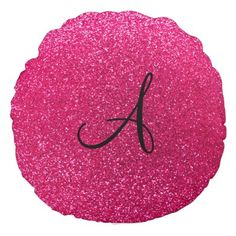Rose pink glitter monogram round pillow Modern and girly rose pink glitter (faux not real glitter) and monogram letter change to any letter a,b,c,d,e,f,g,h,i,j,k,l,m,n,o,p,q,r,s,t,u,v,w,x,y,z. Glitter gift ideas for wome...