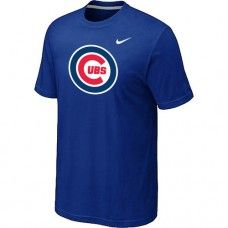 Wholesale Men Chicago Cubs Heathered Blended Short Sleeve Blue T-Shirt_Chicago Cubs T-Shirt