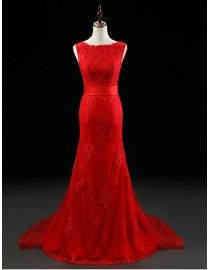 Stunning bateau neckline red lace appliques backless sheath detachable train evening prom dresses 2014 PW5-056