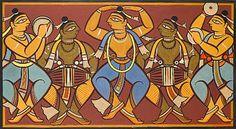 Jamini Roy - Artist Art for Sale - Jamini Roy Indian Artwork, Indian Folk Art, Indian Art Paintings, Modern Art Paintings, Indian Artist, Madhubani Art, Madhubani Painting, Jamini Roy, Bengali Art