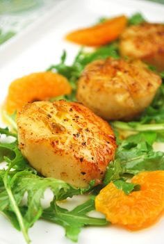 Seared Scallops with Tangerine-Honey Glaze #recipes
