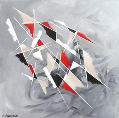 tableau abstrait noir rouge gris