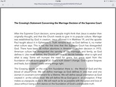 Here's one church's view on the same-sex marriage SCOTUS decision. My main hope right now is that churches are allowed to decide, each for themselves, and then move on in love and grace, in the way they see fit.  I hope that churches are not labeled as, well, pick a random negative term. I'm interested to see other church's statements on the decision.