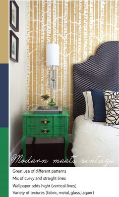 Eclectic bedroom where modern and traditional elements create unique atmosphere. Emerald bedside table!