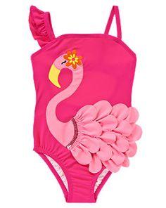 Flamingo Ruffle One-Piece Swim Suit