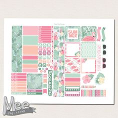 Summer planner stickers printable for mini Happy planner printable stickers weekly sticker kitTropical summer stickers Flamingo planner set by MeeDigiScrap on Etsy
