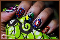 even nail art Mani Pedi, Manicure And Pedicure, Pedicures, Hair And Nails, My Nails, Afro Chic, Art Afro, Summer Toe Nails, Tribal Nails