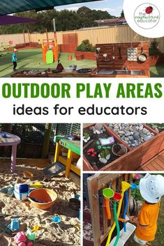 Ideas for Children's Outdoor Play Areas and Activities – inspiration for backyard play areas, sandpits, mud kitchens, obstacle courses and more – great for eduators and family day care providers Outdoor Learning Spaces, Outdoor Play Areas, Outdoor Activities For Kids, Outdoor Fun, Family Activities, Outdoor Play For Toddlers, Backyard Play Areas, Backyard Games, Summer Activities