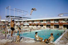 The Country Squire Motel pool with high and low diving boards. Those Were The Days, The Good Old Days, My Childhood Memories, Sweet Memories, High Diving, Diving Board, Back In My Day, Pool Accessories, Thing 1
