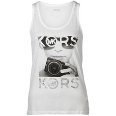 Michael Michael Kors Camera Print Vest Top (49 BAM) ❤ liked on Polyvore featuring tops, shirts, white, regular fit shirts, print tank, white patterned shirt, white singlet and sleeveless tank tops