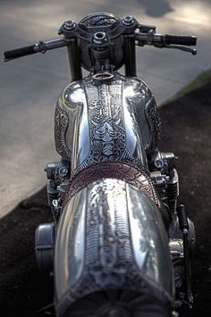 "Motorcycle Scrimshaw I saw this and the only thing that would come out of my mouth was ""OMG!"" Steam punk bike :D"