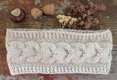 Knitted Headband, Ear Warmer, Oatmel Beige Cream Cable headband, Fall Hair Band, Knit Fashion Accessory, Cozy, Cable Knit in Oatmeal by LovekaKnitting on Etsy