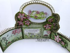my heart on paper, Card with flowers and frog image - Heartfelt Creations stamps and dies, open