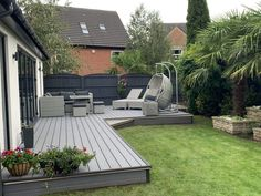 Small Garden Design Ideas Low Maintenance, Back Garden Design, Modern Garden Design, Patio Deck Designs, Patio Design, Backyard Patio, Backyard Landscaping, Garden Sitting Areas, Composite Decking
