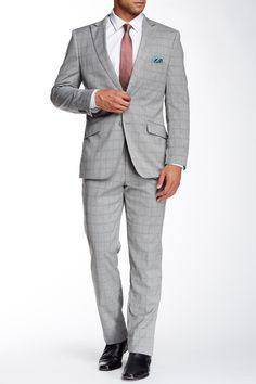 Grey Plaid Two Button Peak Lapel Suit by English Laundry on @HauteLook