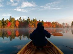 Muskoka, Ontario # Photo: Man in canoe on lake/ Photograph by Randy Craig, All Canada Photos / Alamy The Places Youll Go, Places To Visit, Camping Nature, Vancouver, Nostalgia, Canoe And Kayak, Canoe Trip, Relax, Roadtrip