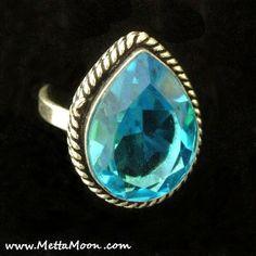 MettaMoon Blue Topaz Tear Ring
