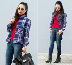 Choies Plaid Shirt, Jessica Buurman Ankle Strap Boots, Torques Double Ring