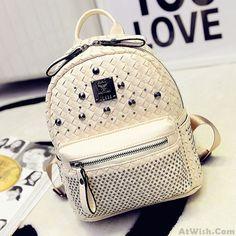 Fashion Woven Rivet Mini Backpack  #backpack #fashion #college #rivet #school
