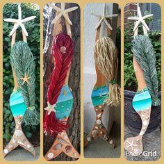 Custom Order Shades of Green Beach Scene by JeanneTierneyDesigns - Hairmemo Mermaid Home Decor, Mermaid Crafts, Seashell Crafts, Beach Crafts, Beach House Decor, Diy And Crafts, Arts And Crafts, Recycled Crafts, Felt Crafts