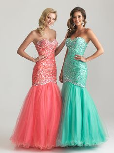 Pastel Pink and Green Sparkly mermaid-style dress
