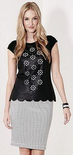 Floral Cutout Karen Kane Faux Leather Top #Karen_Kane #KarenKane #Faux_Leather #Top