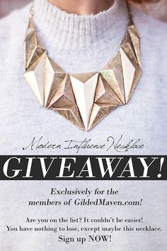 OMG GOLD!!!  You can WIN this necklace!!! Here is a super easy link to sign up! You're SO welcome!!!   http://gildedmavensubscribe.gr8.com