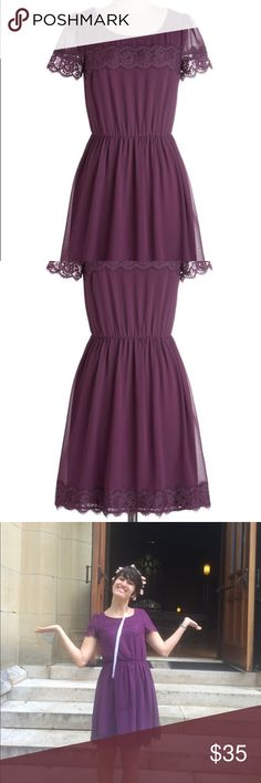 🎉HP 8/2/17🎉 Lace Dress Adorable lace dress in a gorgeous plum color from ModCloth. Worn once. Host Pick for Best Dressed Party 8/2/17 Modcloth Dresses