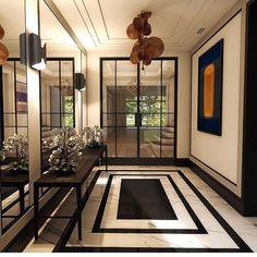 Beautiful entrance foyer project of Design Entrée, Flur Design, Lobby Design, Home Design, Decor Interior Design, Interior Decorating, Luxury Interior, Entrance Foyer, Entrance Design