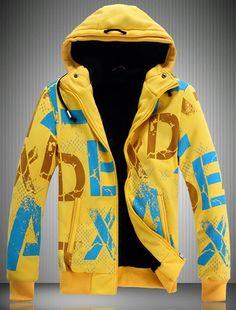 Korea Style Men Long Slleve Csual Blends Yellow Hoodies M/L/XL/XXL @ JT87091y
