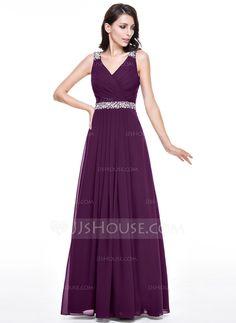 A-Line Princess V-neck Floor-Length Chiffon Evening Dress With Lace 1a6cc1aec5