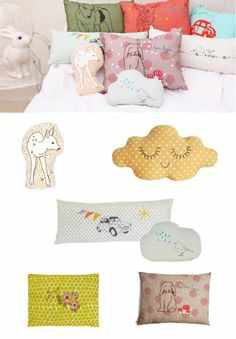 Petit Home- love the cloud polka-dot pillow and the lime green one too