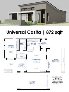 This 872 square foot 1 bedroom, 1 bath house plan is a small contemporary house plan with universal design features for aging in place.