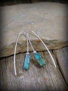 Turquoise Earrings, Silver Earrings, Southwest Jewelry, Bohemian Earrings,  by StoneWearDesigns