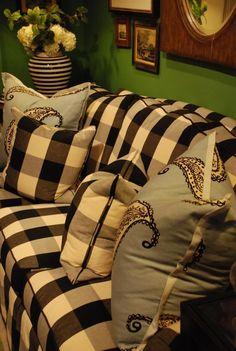LOVE the check but NOT the blue/gray? pillows. buffalo check...6-9 ticking 5