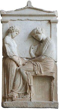 Funerary stele of Mnesarete; a young servant (left) is facing her dead mistress. Attica, circa 380 BC. (Glyptothek, Munich, Germany)