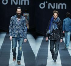 d'nim by Chen Wen 2014-2015 Fall Autumn Winter Runway Looks - Mercedes-Benz China Fashion Week Beijing - Mens Collections - Denim Jeans Multi Panel Prints Geometric Outerwear Asymmetrical Skirt Drapery Boots Scarf Trucker Jacket Dress Coat Ombre Dye Bralette Crop Top Midriff Swirls Motorcycle Biker Rider Blouse Shirt Patchwork Down Jacket Vintage Ripped Holes Destroyed Destructed Paint Splatters Droplets Stains Parka