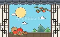 배경, 백그라운드, 과일, 감, 오브젝트, 시골, 한국, 사과, 추석, 한가위, 일러스트, 배, freegine, 가을, 전통, illust…