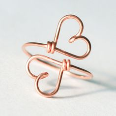 Ringen - 2 HEARTS - Together forever, 14K Goldfilled Wire - Een uniek product van KIZZU op DaWanda