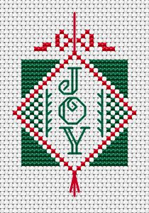 Send Christmas wishes to a friend with this charming small cross stitch card featuring the word 'Joy'