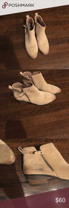 Vince Camuto tan suede booties Only worn one but has small black mark on right shoe (see picture). Otherwise in great condition. Vince Camuto Shoes Ankle Boots & Booties
