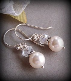 Bride Bridesmaids Earrings  Customizable Swarovski by lecollezione, $19.75