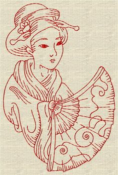 Fairyland Embroidery Designs Free Embroidery Design: Redwork Geisha 5.90 inches H x 3.90 inches W