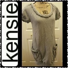 Kensie Rompers Dress Kensie Pretty Signature Rompers Style Dress,   Comfy 100% Cotton in Gray, Short Sleeves with Zipped Side Pockets, Mint Condition Kensie Dresses