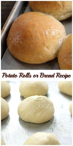 The best! Potato Rolls or Bread Recipe makes 2 loaves of soft delicious bread or the best potato rolls you'll ever make. Bread Bun, Bread Rolls, Yeast Rolls, Cooking Bread, Bread Baking, Cannoli, Scones, Bread Recipes, Cooking Recipes