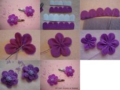 by rene diy cute felt flowers purple clip tutorial with beads - hea cloth flower making Shabby Shack is now closed. Cloth Flowers, Felt Flowers, Diy Flowers, Fabric Flowers, Paper Flowers, Felt Diy, Felt Crafts, Diy Crafts, Diy Hair Bow Holder