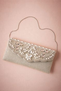 Matilda Beaded Clutch in Shoes & Accessories Clutches at BHLDNYou acquired to start dating when using the overnight - and in fact now it is time for a stlylish grasp to complete your look. view a very large number one-of-a-kind opportunities select f Embellished Purses, Beaded Purses, Beaded Bags, Vintage Clutch, Bridal Clutch, Wedding Clutch, Beaded Clutch, Diy Clutch, Clutch Bags