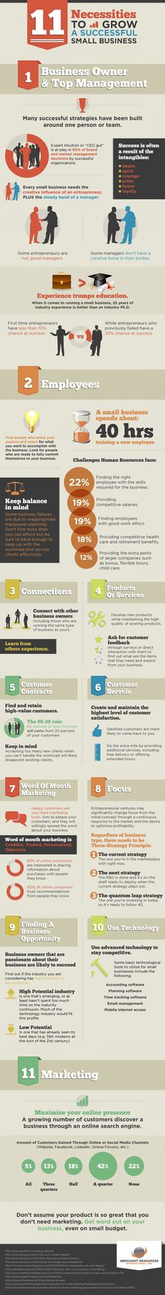 11 Necessities To Grow A Successful Small Business #infographics #Business