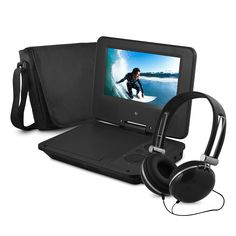 Ematic 7 in. Portable DVD Player with Colored Headphones and Carrying Case - Portable Video Player - Ideas of Portable Video Player - - Ematic 7 in. Portable DVD Player with Colored Headphones and Carrying Case Audio Player, Stereo Speakers, Audio System, Tv Videos, Portable, Headphones, Electronics, Bags, Stuff To Buy